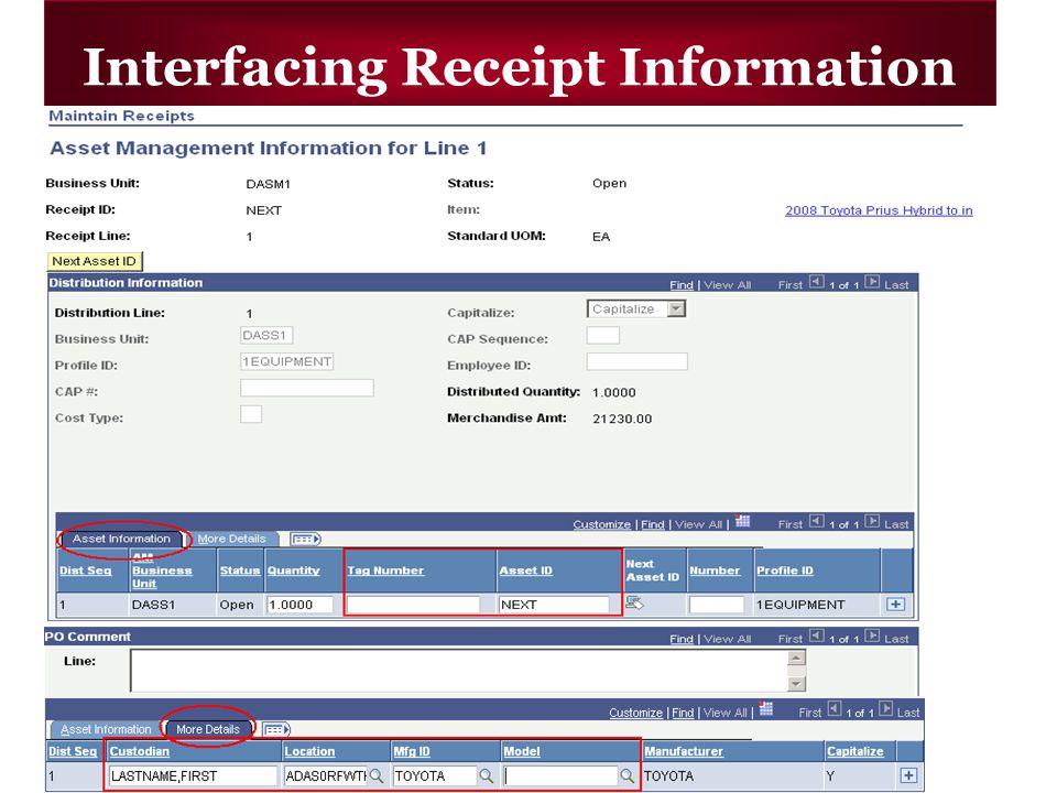 Interfacing Receipt Information