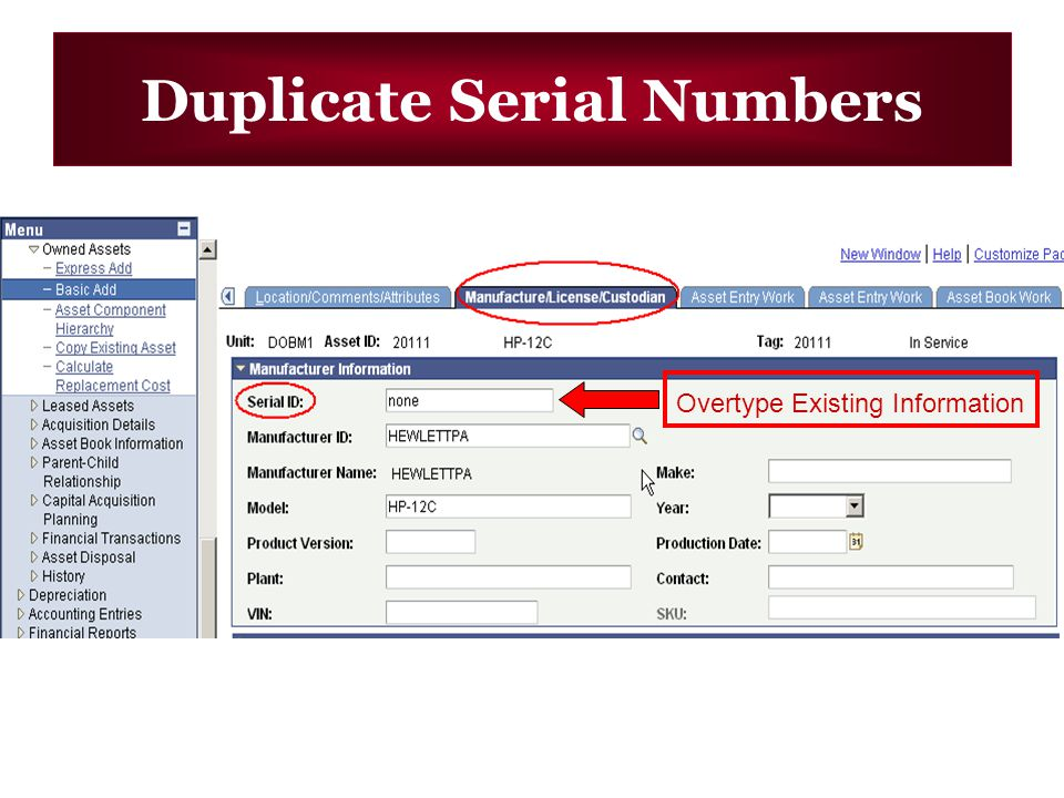 Duplicate Serial Numbers Overtype Existing Information