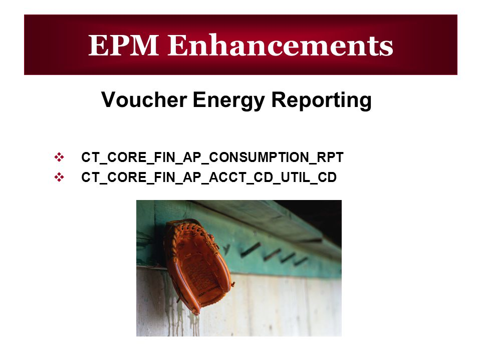 EPM Enhancements Voucher Energy Reporting CT_CORE_FIN_AP_CONSUMPTION_RPT CT_CORE_FIN_AP_ACCT_CD_UTIL_CD