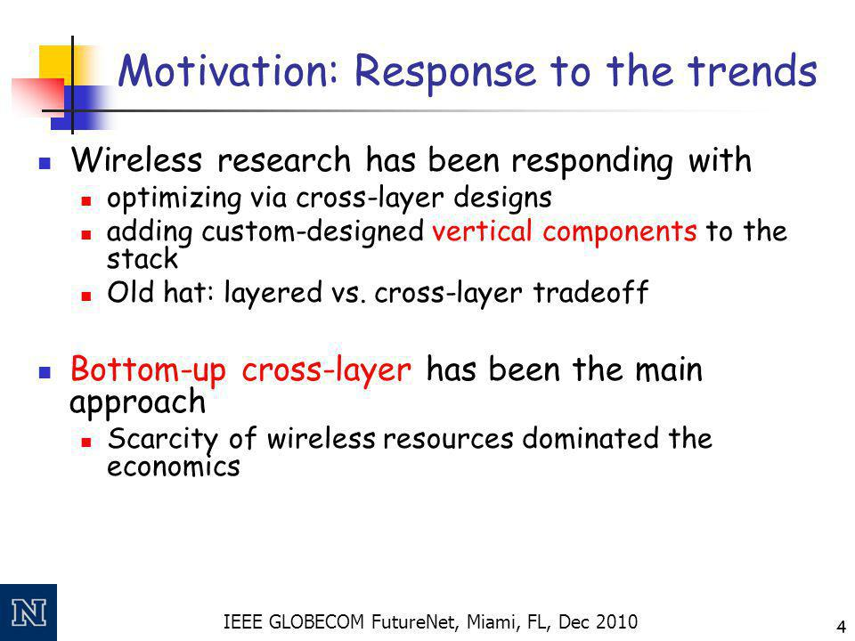 IEEE GLOBECOM FutureNet, Miami, FL, Dec 2010 4 Motivation: Response to the trends Wireless research has been responding with optimizing via cross-laye