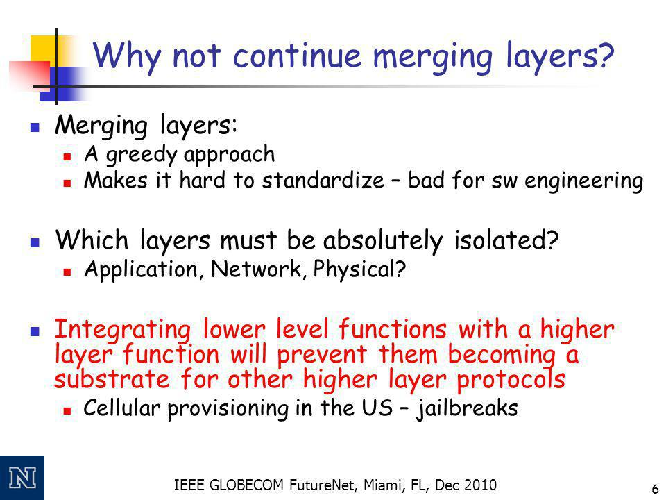 IEEE GLOBECOM FutureNet, Miami, FL, Dec 2010 6 Why not continue merging layers? Merging layers: A greedy approach Makes it hard to standardize – bad f