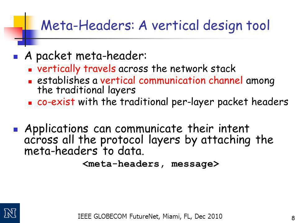 IEEE GLOBECOM FutureNet, Miami, FL, Dec 2010 8 Meta-Headers: A vertical design tool A packet meta-header: vertically travels across the network stack establishes a vertical communication channel among the traditional layers co-exist with the traditional per-layer packet headers Applications can communicate their intent across all the protocol layers by attaching the meta-headers to data.
