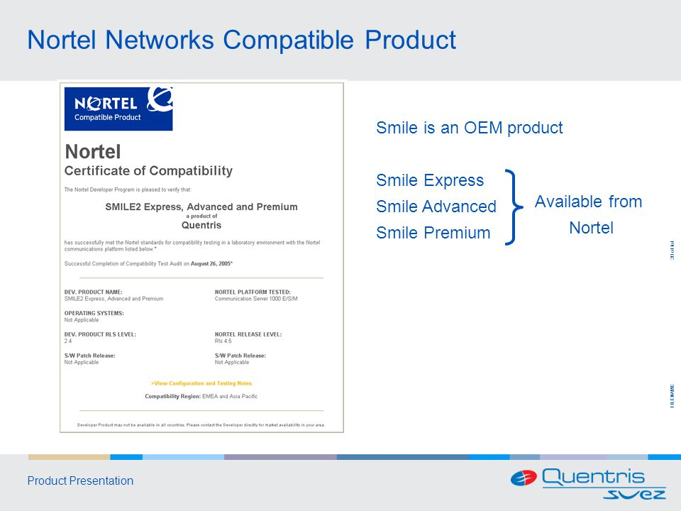FILENAME 20 of tot Product Presentation Nortel Networks Compatible Product Smile is an OEM product Smile Express Smile Advanced Smile Premium Available from Nortel