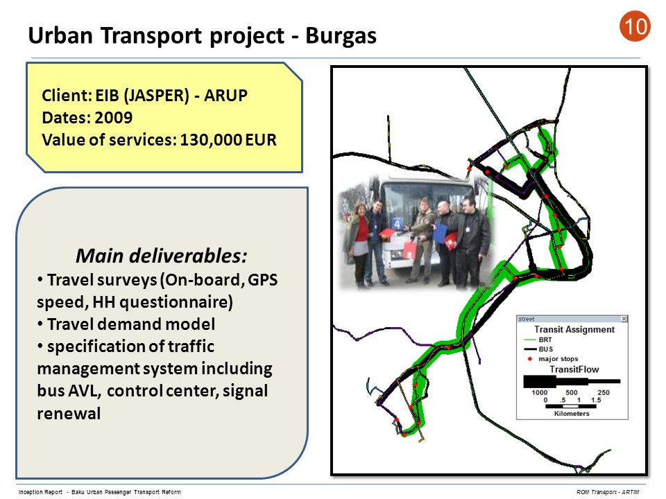 Urban Transport project - Burgas 10 Inception Report - Baku Urban Passenger Transport Reform ROM Transport - ARTIM Client: EIB (JASPER) - ARUP Dates: