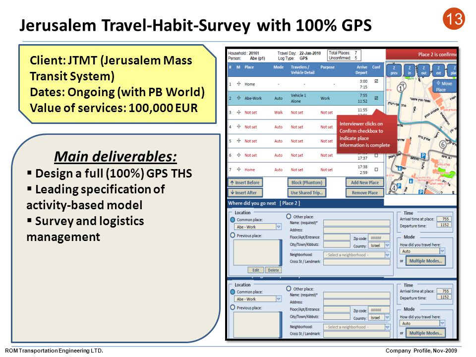 Jerusalem Travel-Habit-Survey with 100% GPS 13 Client: JTMT (Jerusalem Mass Transit System) Dates: Ongoing (with PB World) Value of services: 100,000