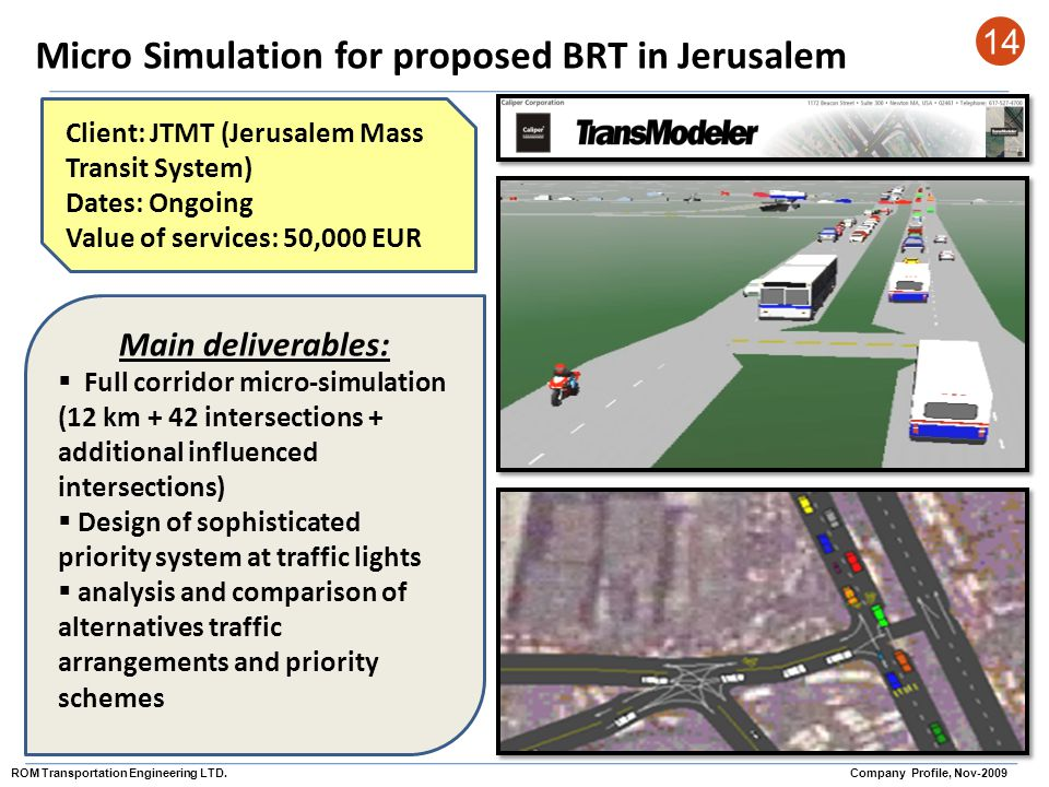 Micro Simulation for proposed BRT in Jerusalem 14 Client: JTMT (Jerusalem Mass Transit System) Dates: Ongoing Value of services: 50,000 EUR Main deliv