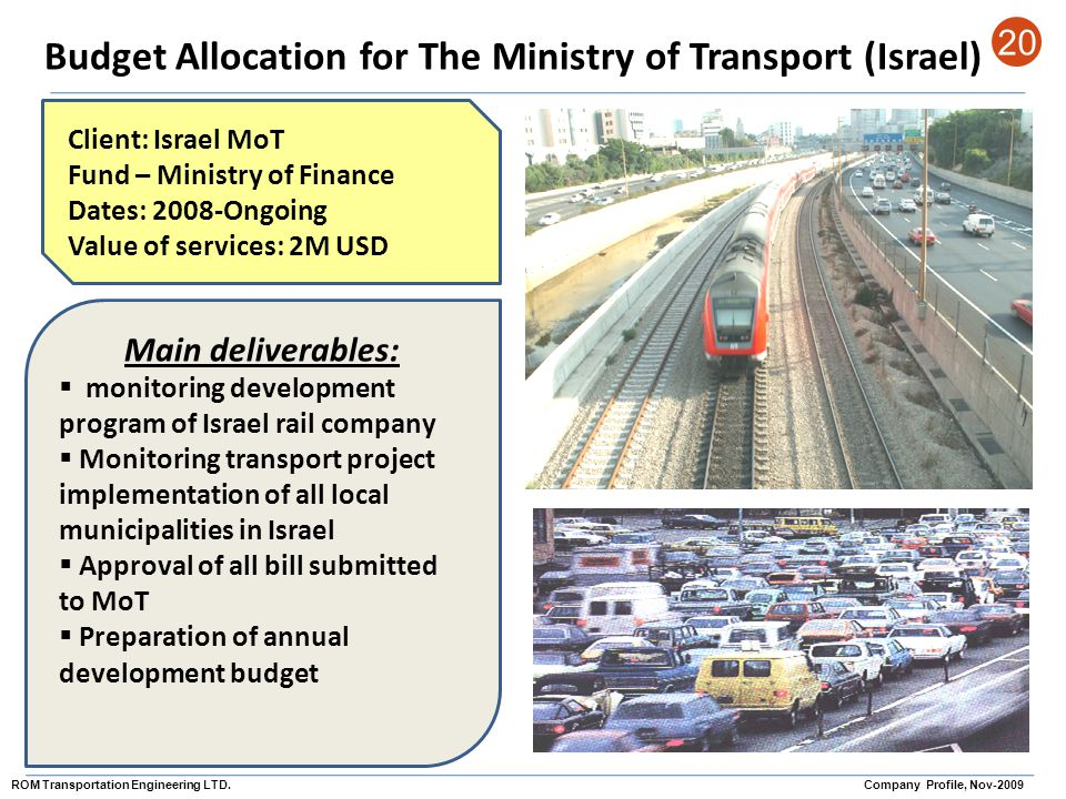 Budget Allocation for The Ministry of Transport (Israel) 20 Client: Israel MoT Fund – Ministry of Finance Dates: 2008-Ongoing Value of services: 2M US