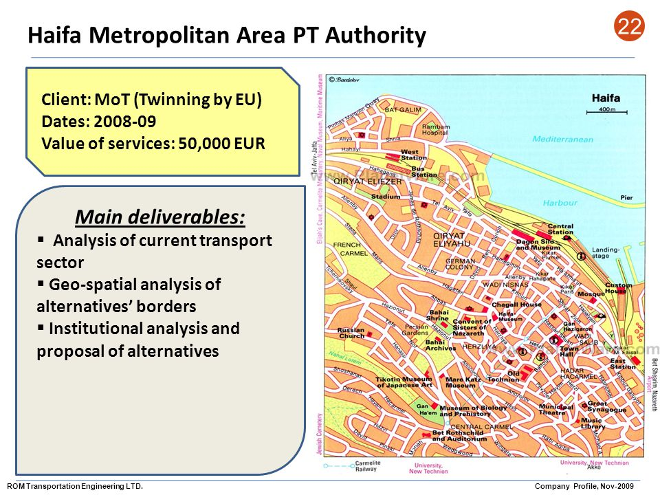 Haifa Metropolitan Area PT Authority 22 Client: MoT (Twinning by EU) Dates: 2008-09 Value of services: 50,000 EUR Main deliverables: Analysis of curre