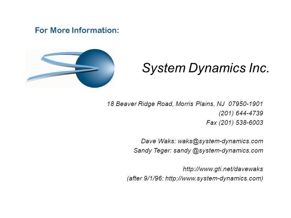 For More Information: 18 Beaver Ridge Road, Morris Plains, NJ 07950-1901 (201) 644-4739 Fax (201) 538-6003 Dave Waks: waks@system-dynamics.com Sandy Teger: sandy @system-dynamics.com http://www.gti.net/davewaks (after 9/1/96: http://www.system-dynamics.com) System Dynamics Inc.