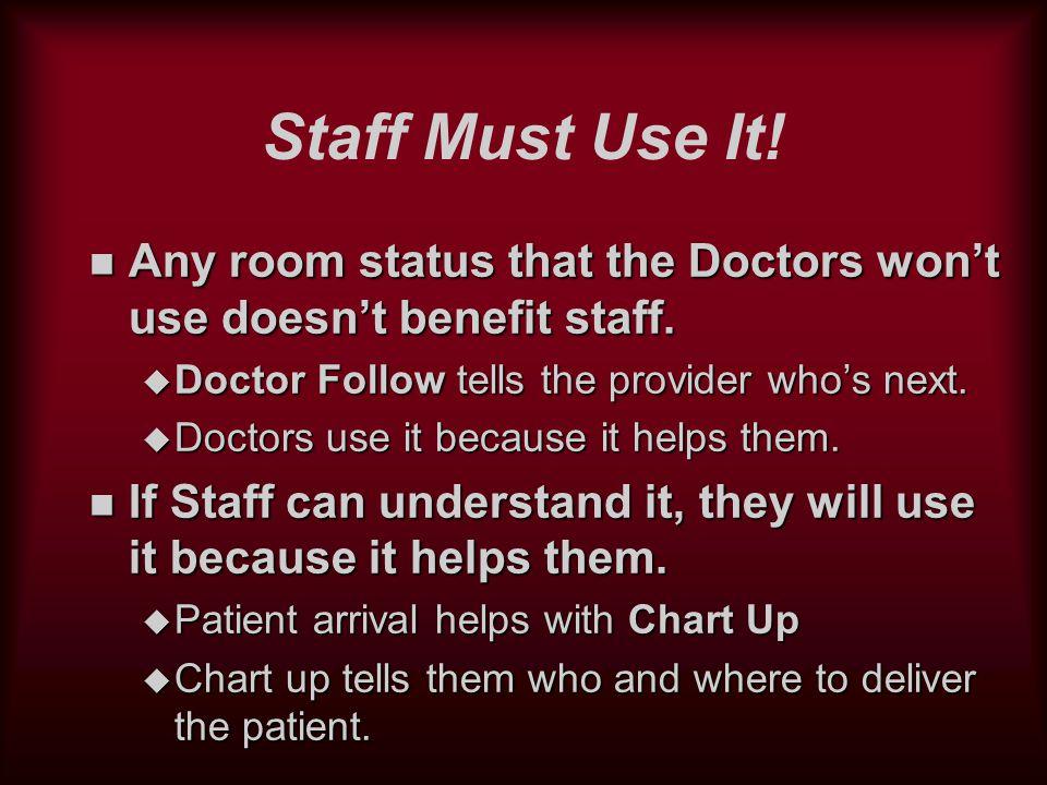 Room Status Design n Five basic areas: u Exam Rooms u Processing (Nursing) Stations u Work Rooms / Labs u Patient Waiting Rooms / Receptions u Public Areas (Rest Rooms)