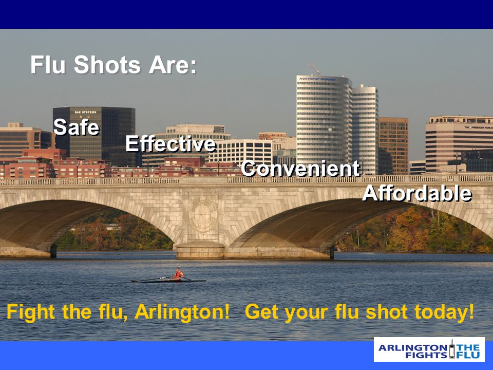 Safe Effective Convenient Affordable Flu Shots Are: Fight the flu, Arlington.