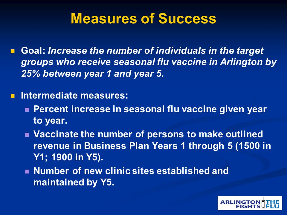 Measures of Success Goal: Increase the number of individuals in the target groups who receive seasonal flu vaccine in Arlington by 25% between year 1 and year 5.