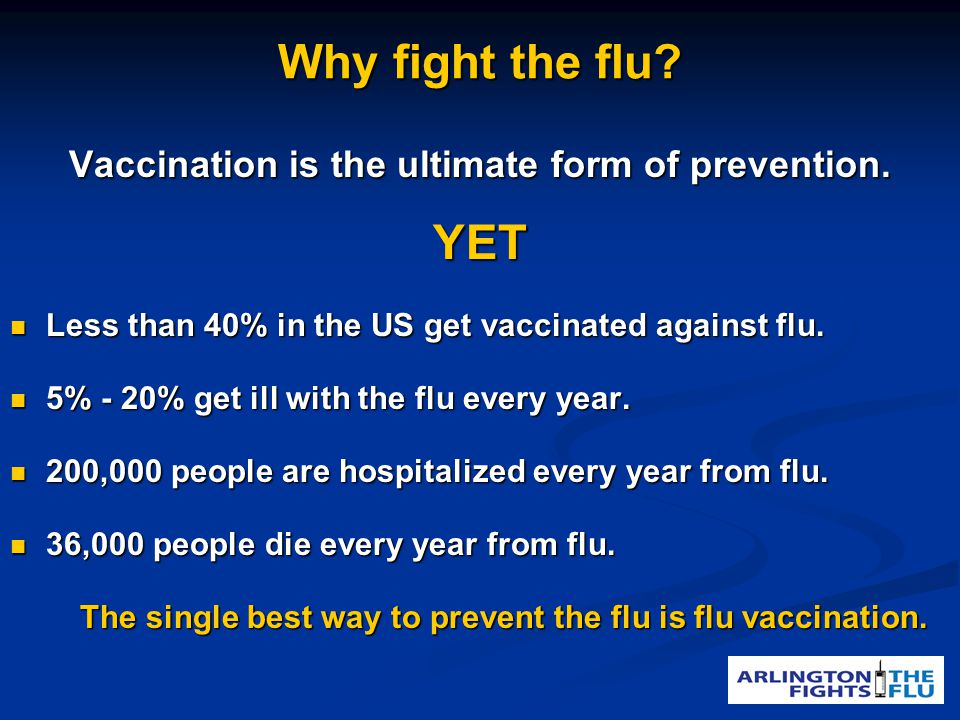 Why fight the flu. Vaccination is the ultimate form of prevention.