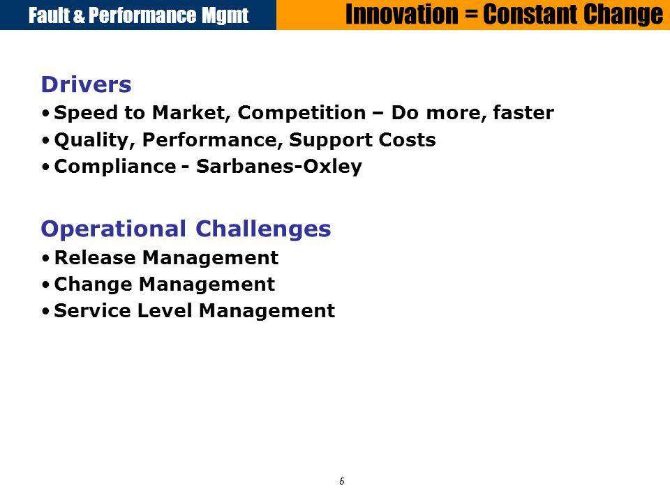 Fault & Performance Mgmt 16 Overview Drivers Adoption of ITIL/COBIT Best Practices for Change Management –Production Improvement Program (PIP), SOX Compliance, etc.