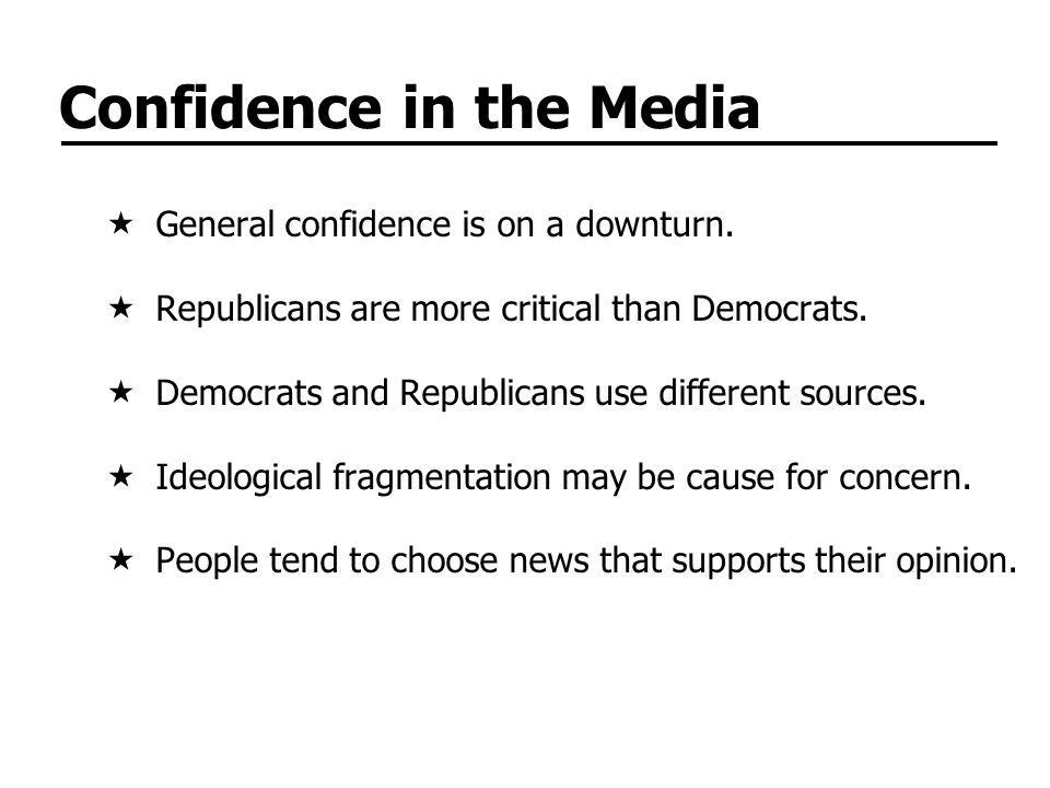 Confidence in the Media General confidence is on a downturn.