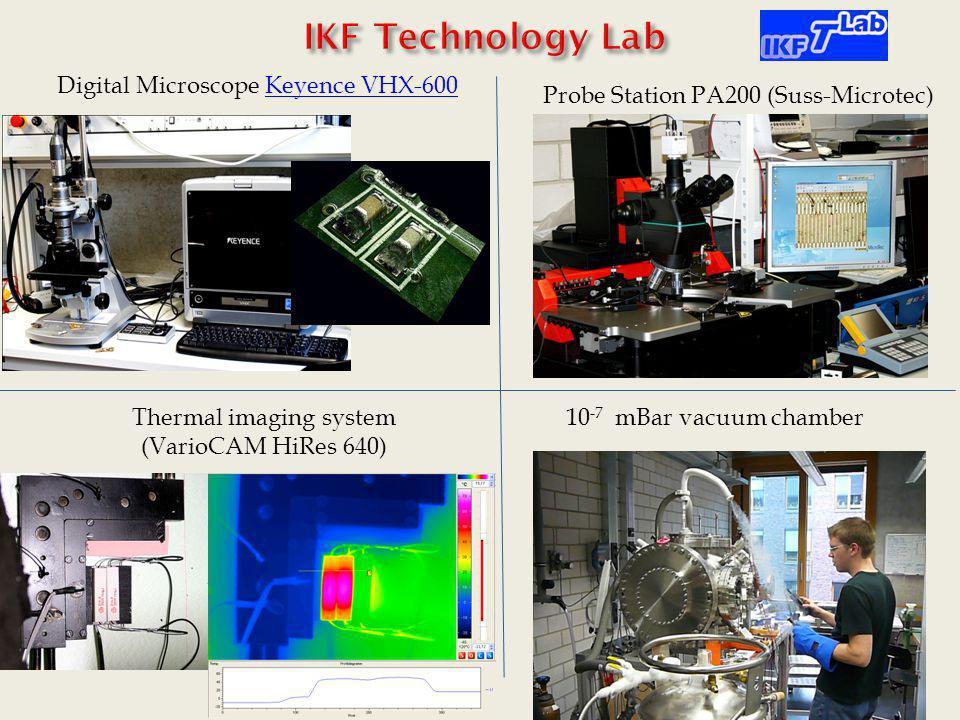 Digital Microscope Keyence VHX-600Keyence VHX-600 Probe Station PA200 (Suss-Microtec) Thermal imaging system (VarioCAM HiRes 640) 10 -7 mBar vacuum ch