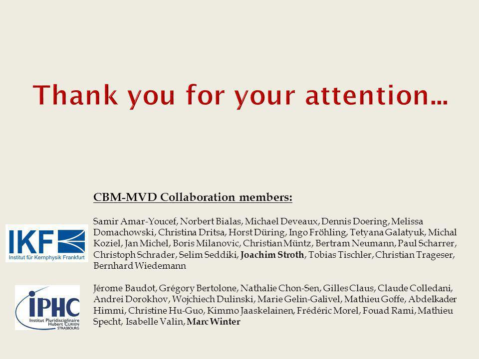 CBM-MVD Collaboration members: Samir Amar-Youcef, Norbert Bialas, Michael Deveaux, Dennis Doering, Melissa Domachowski, Christina Dritsa, Horst Düring