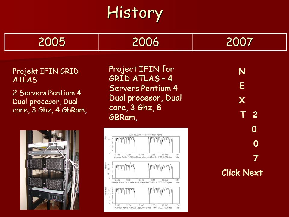 History 200520062007 Projekt IFIN GRID ATLAS 2 Servers Pentium 4 Dual procesor, Dual core, 3 Ghz, 4 GbRam, Project IFIN for GRID ATLAS – 4 Servers Pen