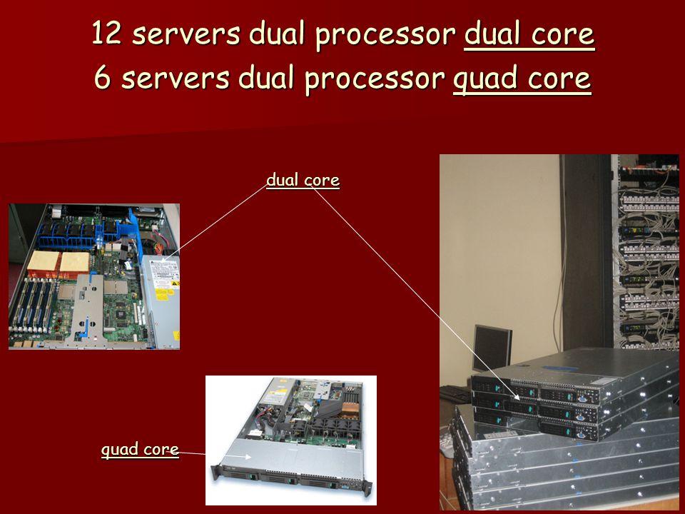 12 servers dual processor dual core 6 servers dual processor quad core dual core quad core