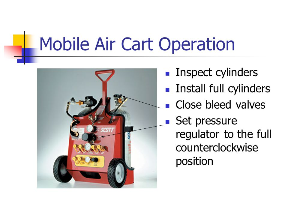 Mobile Air Cart Operation Inspect cylinders Install full cylinders Close bleed valves Set pressure regulator to the full counterclockwise position