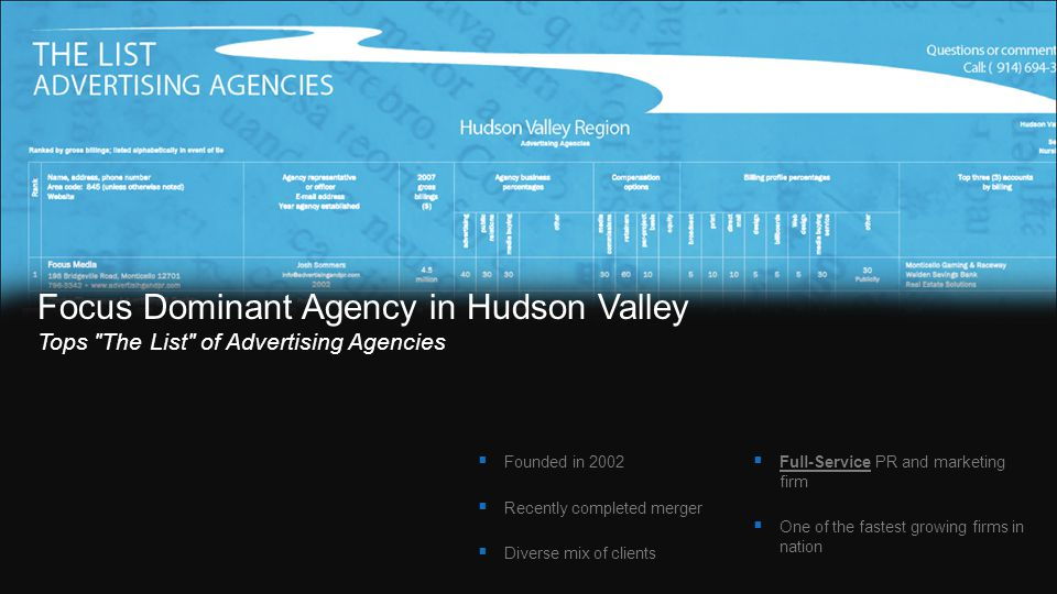 COMPANY PROFILE:COMPANY PROFILE: Founded in 2002 Recently completed merger Diverse mix of clients Full-Service PR and marketing firm One of the fastest growing firms in nation Focus Dominant Agency in Hudson Valley Tops The List of Advertising Agencies