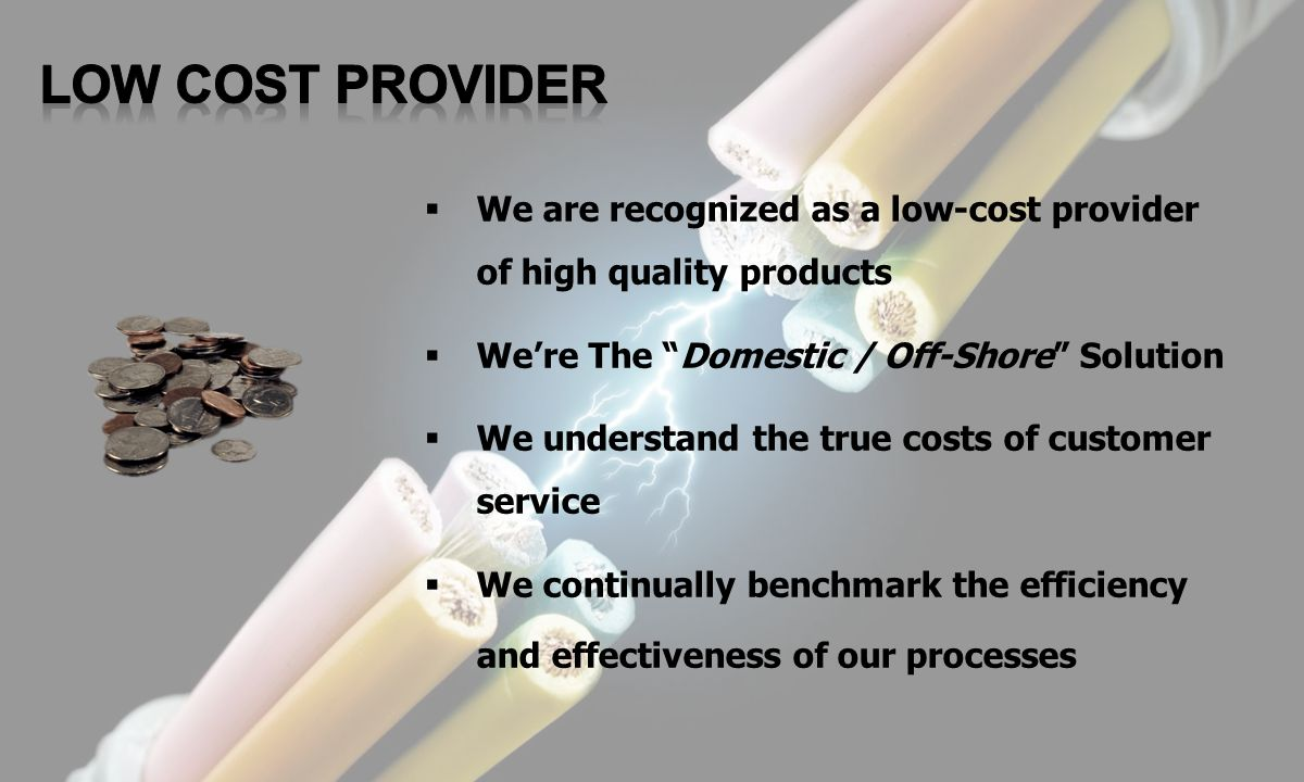 We are recognized as a low-cost provider of high quality products Were The Domestic / Off-Shore Solution We understand the true costs of customer serv