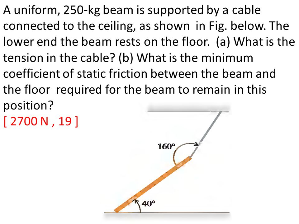A uniform, 250-kg beam is supported by a cable connected to the ceiling, as shown in Fig. below. The lower end the beam rests on the floor. (a) What i