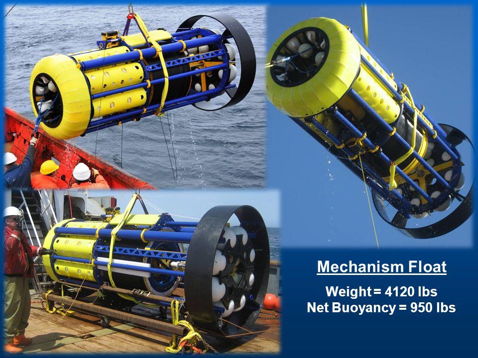 Mechanism Float Weight = 4120 lbs Net Buoyancy = 950 lbs