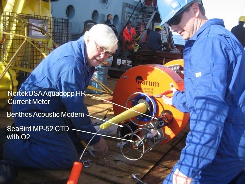 SeaBird MP-52 CTD with O2 NortekUSA Aquadopp HR Current Meter Benthos Acoustic Modem