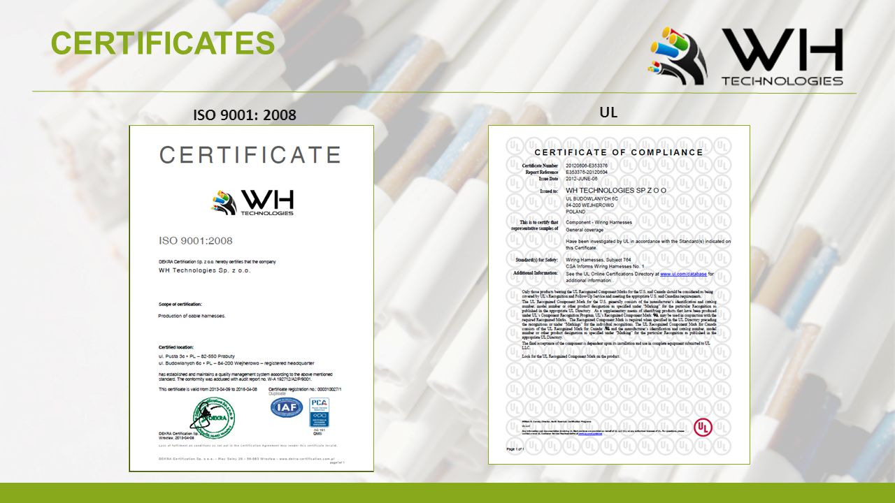 CERTIFICATES UL ISO 9001: 2008