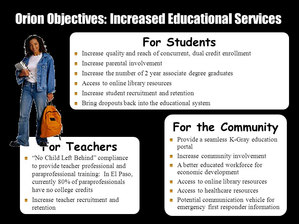 Orion Objectives: Increased Educational Services 28 For the Community Provide a seamless K-Gray education portal Increase community involvement A better educated workforce for economic development Access to online library resources Access to healthcare resources Potential communication vehicle for emergency first responder information For Students Increase quality and reach of concurrent, dual credit enrollment Increase parental involvement Increase the number of 2 year associate degree graduates Access to online library resources Increase student recruitment and retention Bring dropouts back into the educational system For Teachers No Child Left Behind compliance to provide teacher professional and paraprofessional training: In El Paso, currently 80% of paraprofessionals have no college credits Increase teacher recruitment and retention