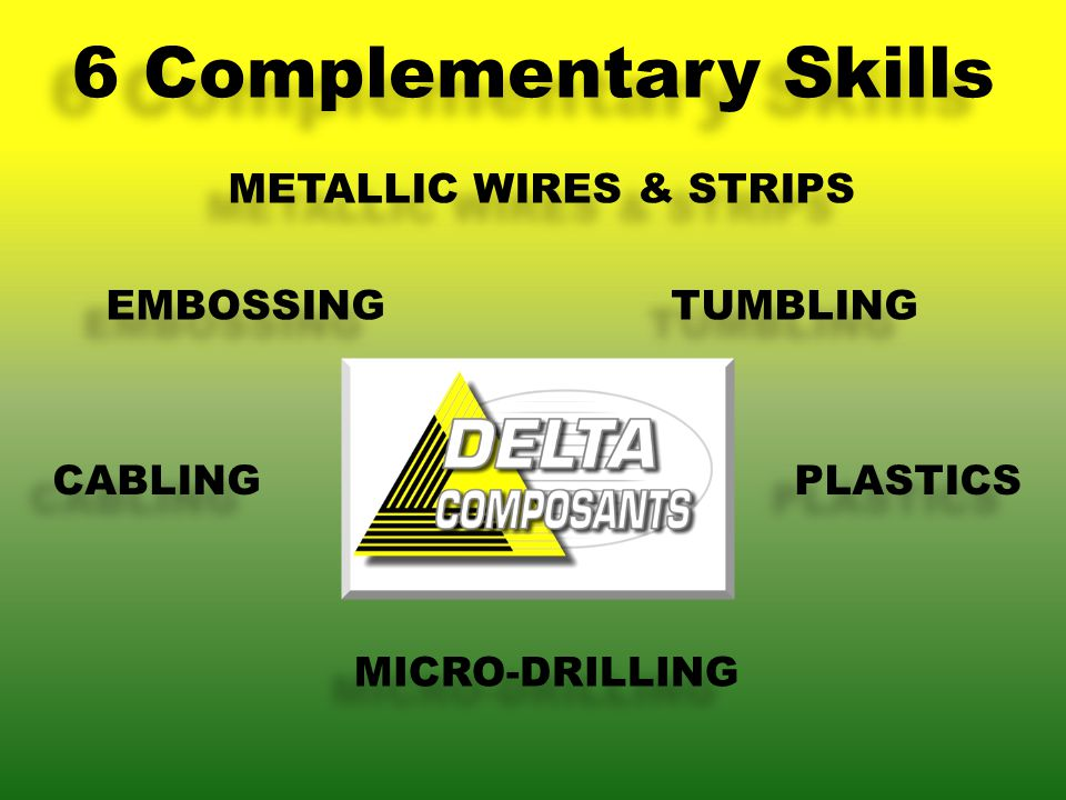 METALLIC WIRES & STRIPS EMBOSSING TUMBLING CABLING PLASTICS MICRO-DRILLING 6 Complementary Skills
