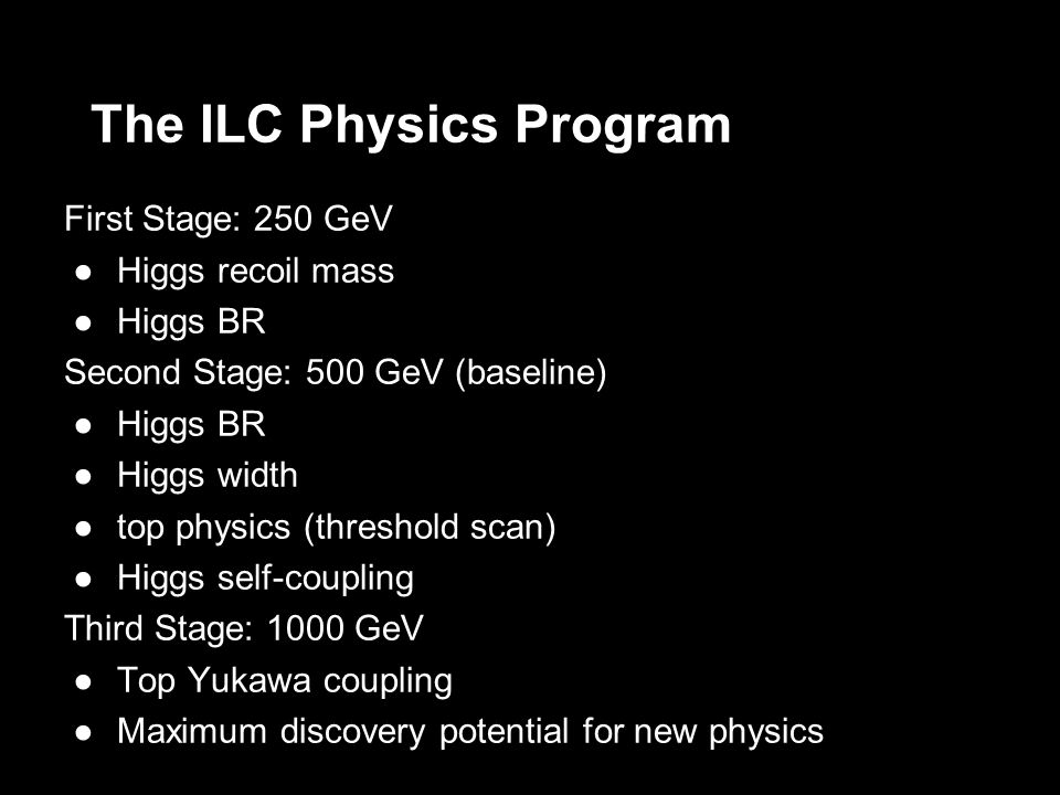 The ILC Physics Program First Stage: 250 GeV Higgs recoil mass Higgs BR Second Stage: 500 GeV (baseline) Higgs BR Higgs width top physics (threshold scan) Higgs self-coupling Third Stage: 1000 GeV Top Yukawa coupling Maximum discovery potential for new physics