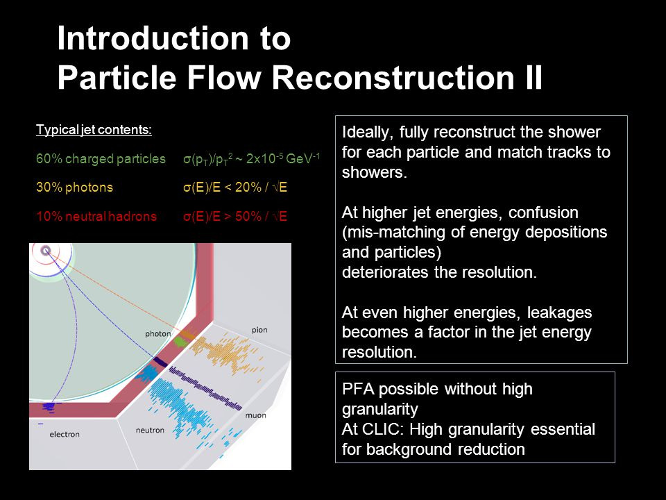 Introduction to Particle Flow Reconstruction II Ideally, fully reconstruct the shower for each particle and match tracks to showers.