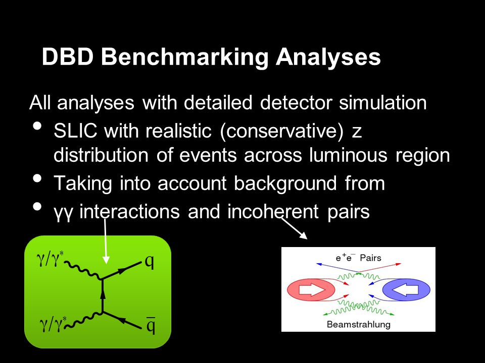 DBD Benchmarking Analyses All analyses with detailed detector simulation SLIC with realistic (conservative) z distribution of events across luminous region Taking into account background from γγ interactions and incoherent pairs