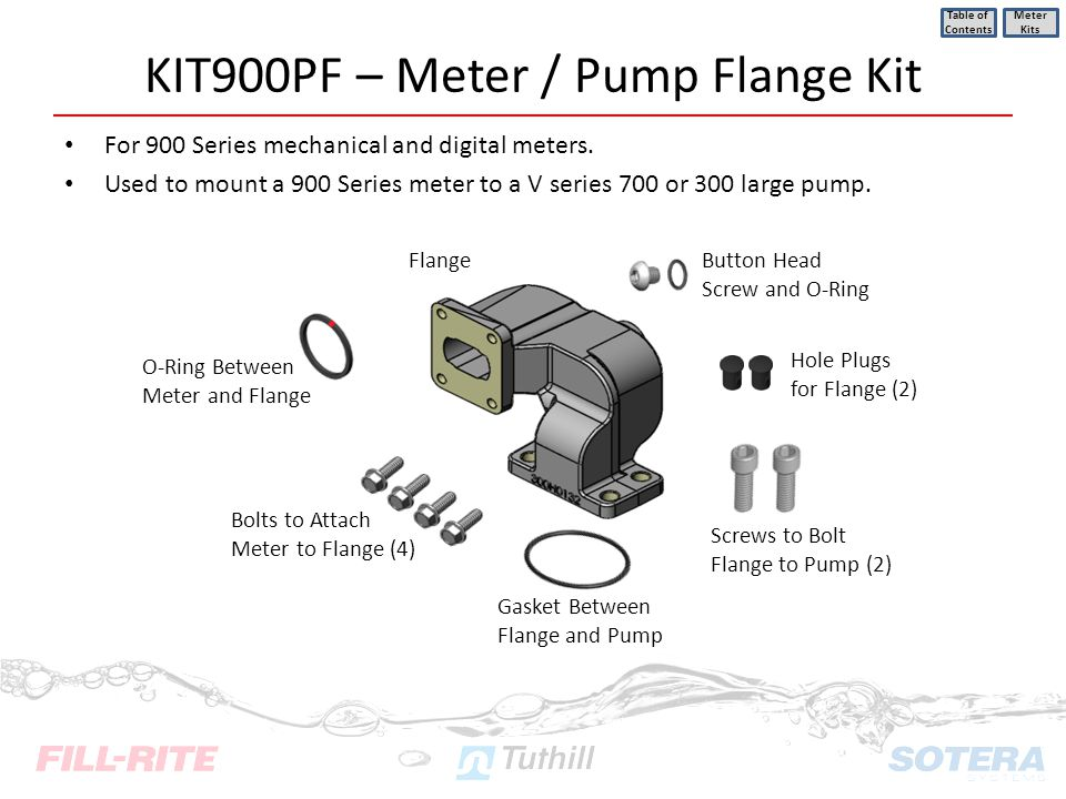 KIT900PF – Meter / Pump Flange Kit For 900 Series mechanical and digital meters. Used to mount a 900 Series meter to a V series 700 or 300 large pump.