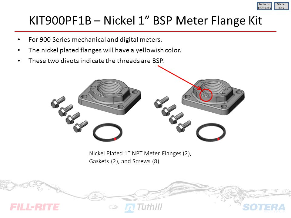 KIT900PF1B – Nickel 1 BSP Meter Flange Kit For 900 Series mechanical and digital meters. The nickel plated flanges will have a yellowish color. These