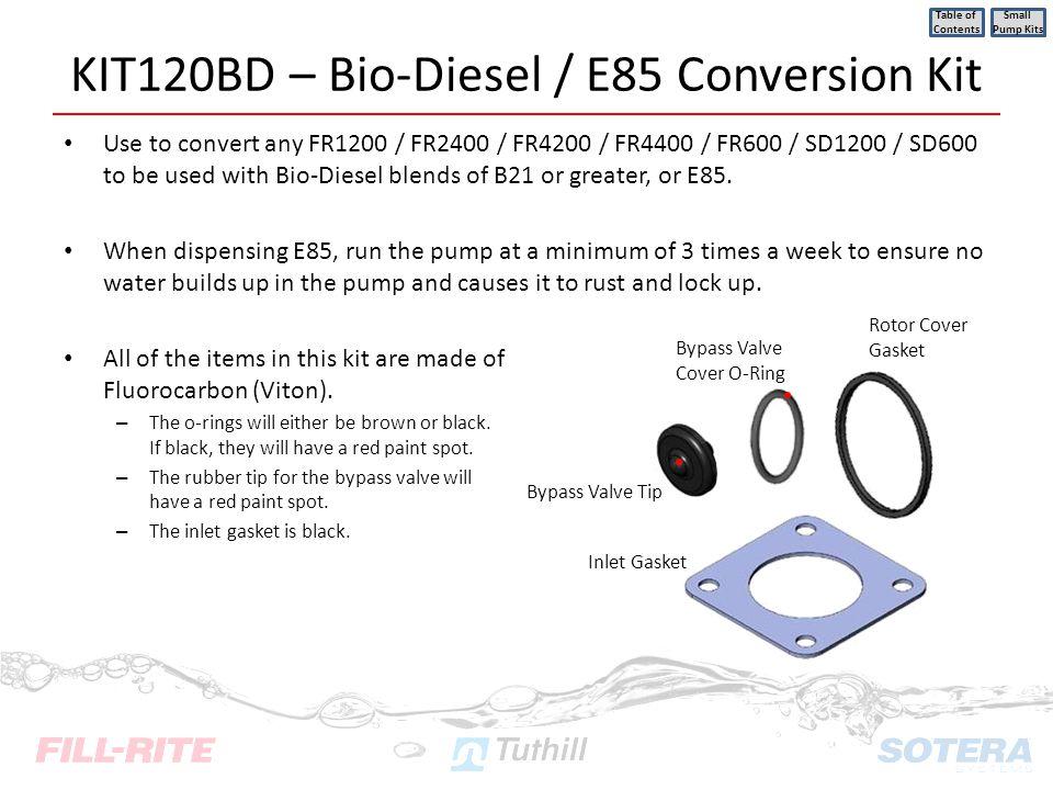 KIT120BD – Bio-Diesel / E85 Conversion Kit Use to convert any FR1200 / FR2400 / FR4200 / FR4400 / FR600 / SD1200 / SD600 to be used with Bio-Diesel bl