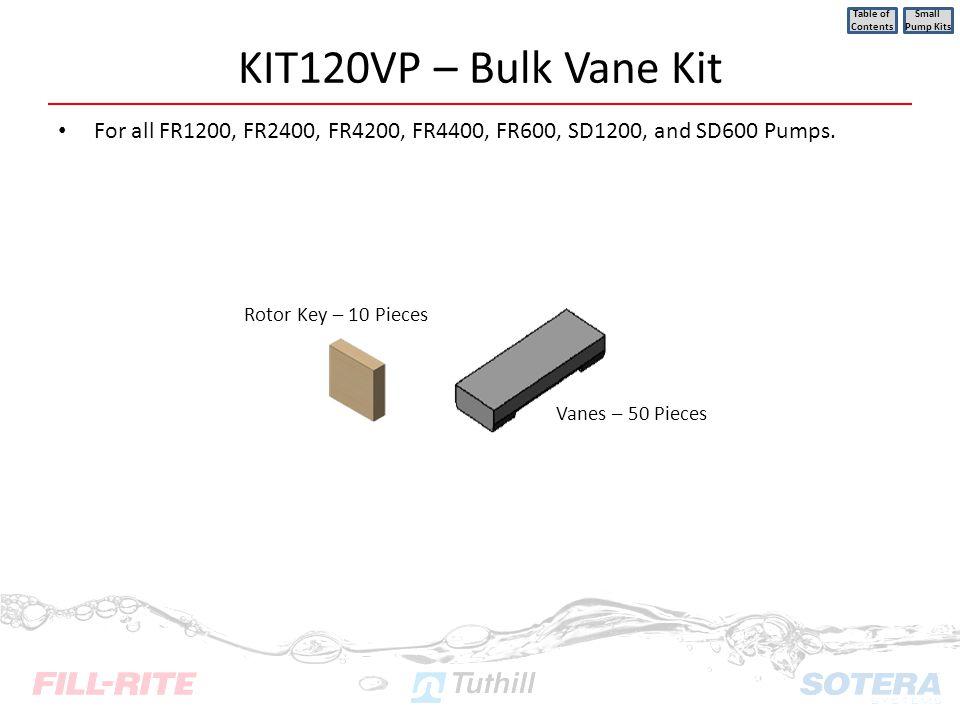 KIT120VP – Bulk Vane Kit For all FR1200, FR2400, FR4200, FR4400, FR600, SD1200, and SD600 Pumps. Table of Contents Small Pump Kits Rotor Key – 10 Piec