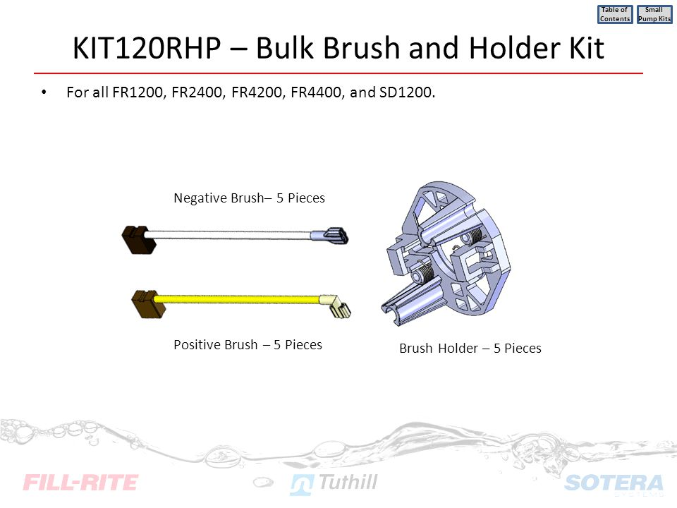 KIT120RHP – Bulk Brush and Holder Kit For all FR1200, FR2400, FR4200, FR4400, and SD1200. Table of Contents Small Pump Kits Positive Brush – 5 Pieces