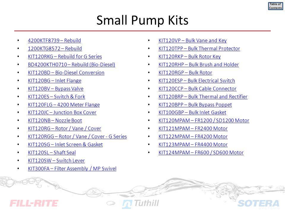 4200KTF8739 – Rebuild 1200KTG8572 – Rebuild KIT120RKG – Rebuild for G Series BD4200KTH0710 – Rebuild (Bio-Diesel) KIT120BD – Bio-Diesel Conversion KIT