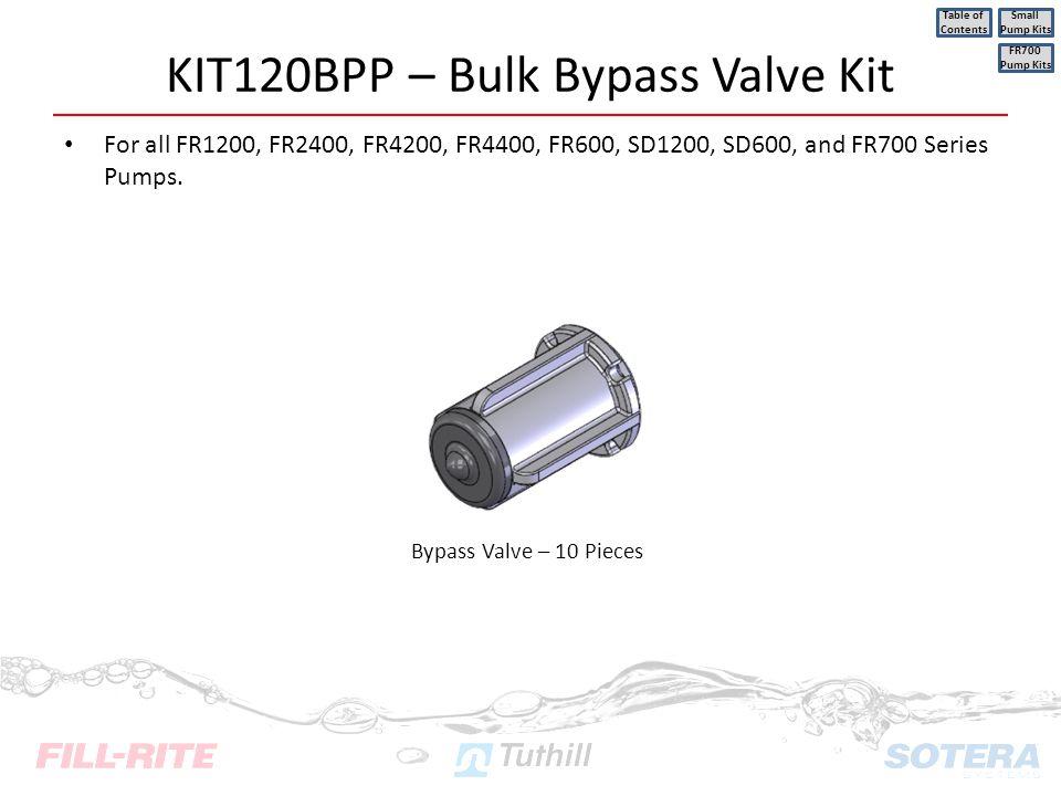 KIT120BPP – Bulk Bypass Valve Kit For all FR1200, FR2400, FR4200, FR4400, FR600, SD1200, SD600, and FR700 Series Pumps. FR700 Pump Kits Table of Conte