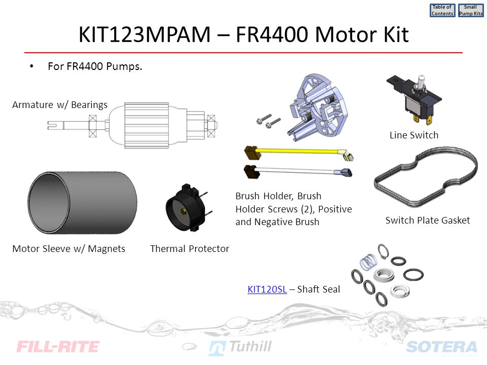 KIT123MPAM – FR4400 Motor Kit For FR4400 Pumps. Table of Contents Small Pump Kits Motor Sleeve w/ Magnets Armature w/ Bearings KIT120SLKIT120SL – Shaf