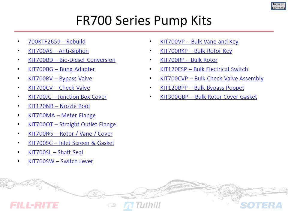 700KTF2659 – Rebuild KIT700AS – Anti-Siphon KIT700BD – Bio-Diesel Conversion KIT700BG – Bung Adapter KIT700BV – Bypass Valve KIT700CV – Check Valve KI