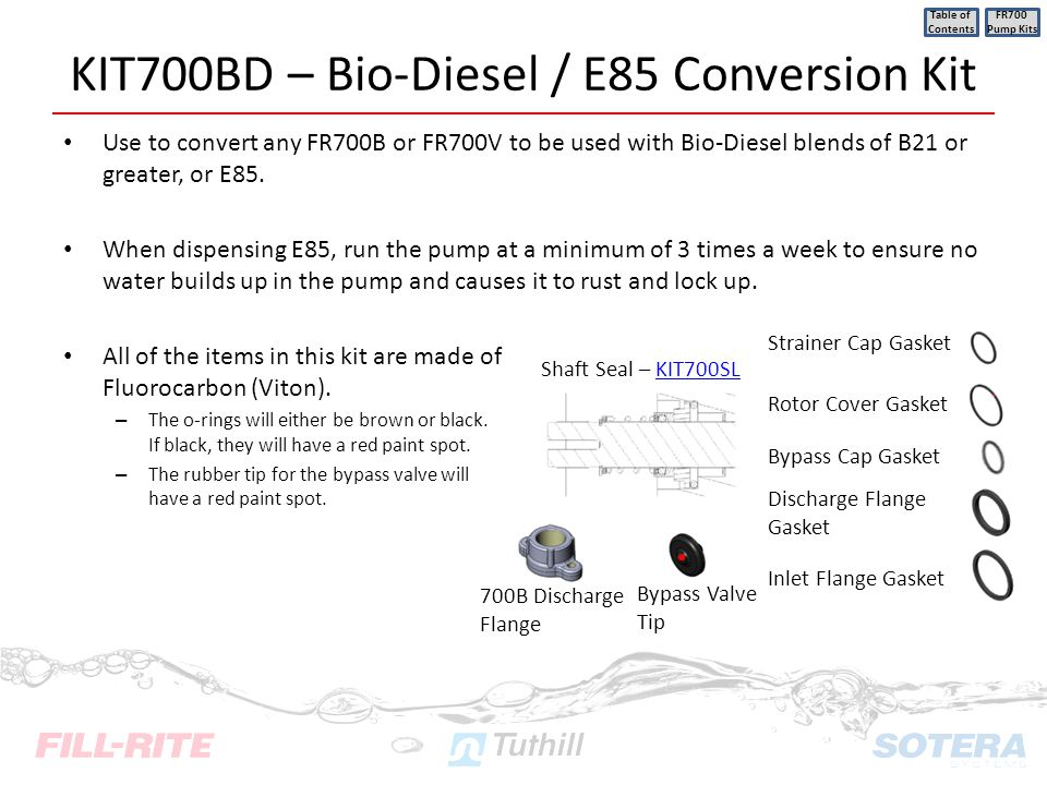 KIT700BD – Bio-Diesel / E85 Conversion Kit Use to convert any FR700B or FR700V to be used with Bio-Diesel blends of B21 or greater, or E85. When dispe