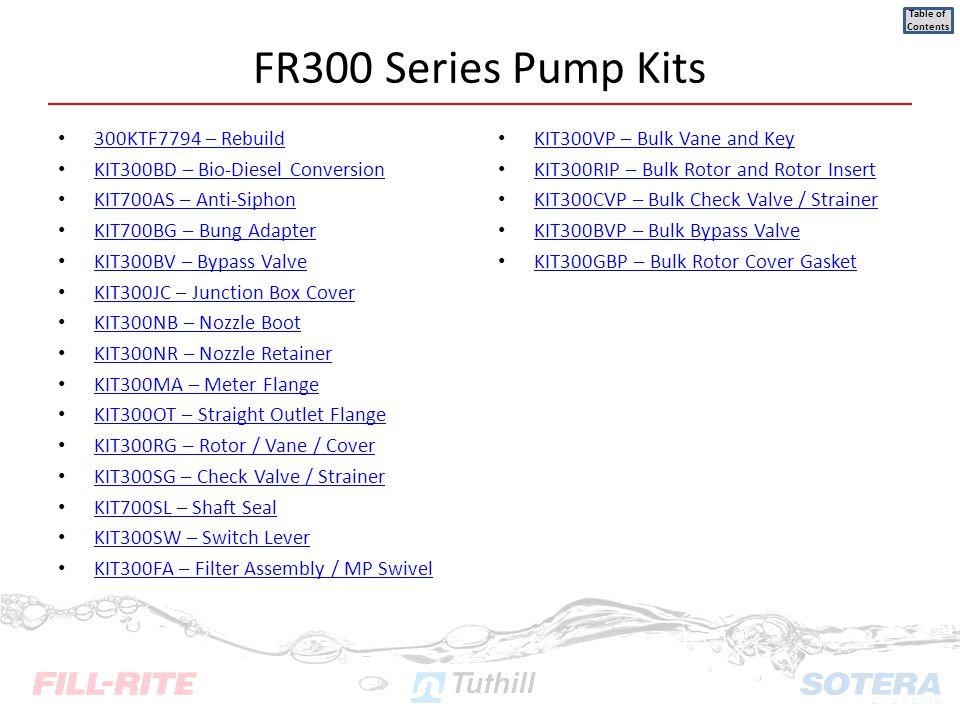 300KTF7794 – Rebuild KIT300BD – Bio-Diesel Conversion KIT700AS – Anti-Siphon KIT700BG – Bung Adapter KIT300BV – Bypass Valve KIT300JC – Junction Box C