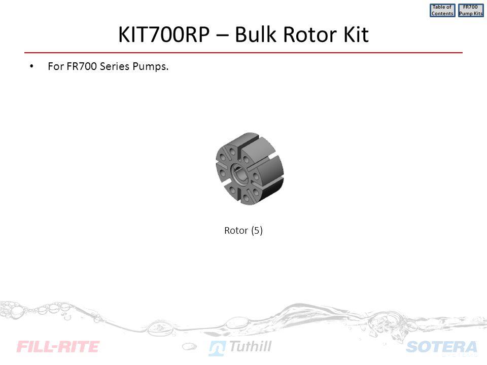 KIT700RP – Bulk Rotor Kit For FR700 Series Pumps. Table of Contents FR700 Pump Kits Rotor (5)