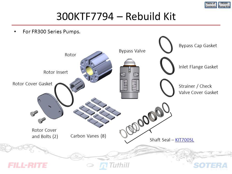 300KTF7794 – Rebuild Kit For FR300 Series Pumps. Table of Contents FR300 Pump Kits Inlet Flange Gasket Strainer / Check Valve Cover Gasket Rotor Cover