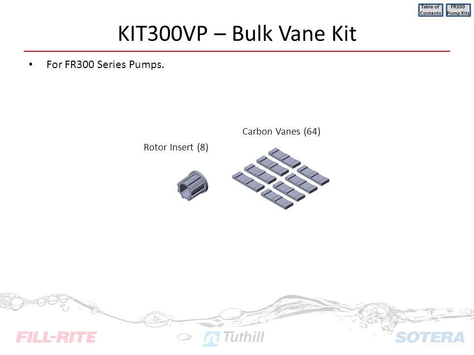 KIT300VP – Bulk Vane Kit For FR300 Series Pumps. Table of Contents FR300 Pump Kits Rotor Insert (8) Carbon Vanes (64)