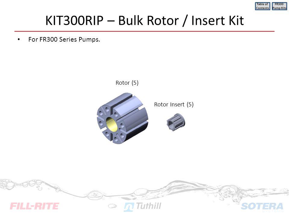 KIT300RIP – Bulk Rotor / Insert Kit For FR300 Series Pumps. Table of Contents FR300 Pump Kits Rotor (5) Rotor Insert (5)